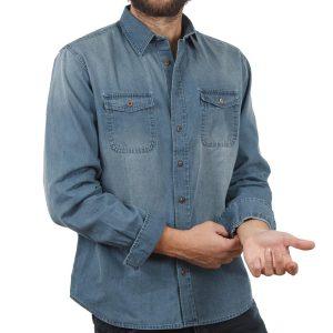 Τζιν Μακρυμάνικο Πουκάμισο Regular Fit DOUBLE DS-8 Stone Blue