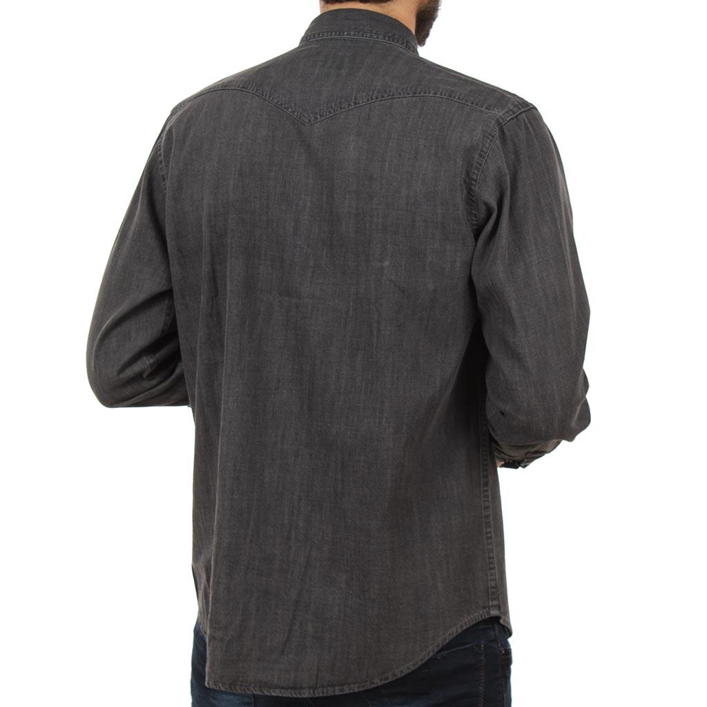 Τζιν Μακρυμάνικο Πουκάμισο Regular Fit DOUBLE DS-9 Μαύρο  241d422bd72