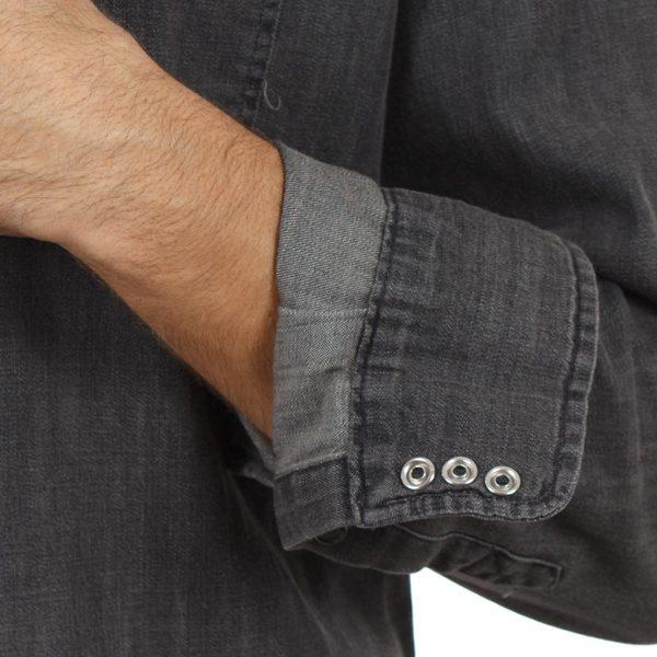 Τζιν Μακρυμάνικο Πουκάμισο Regular Fit DOUBLE DS-9 Μαύρο