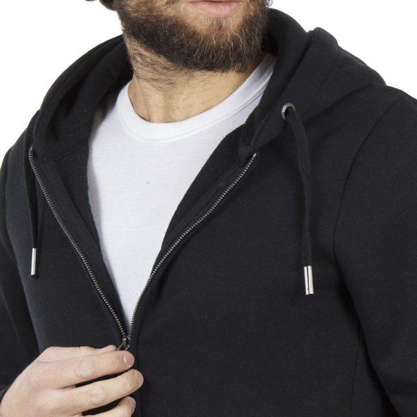 Ζακέτα Φούτερ με Κουκούλα HOODIE DOUBLE MTOP-28 Μαύρο