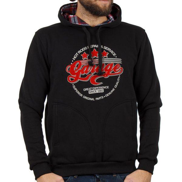 Μπλούζα Φούτερ με Κουκούλα Hoodie START CARAG 88-260-19N Μαύρο