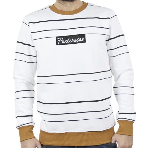 Μπλούζα Φούτερ PONTEROSSO 18-2057 STRIPES Ριγέ Λευκό