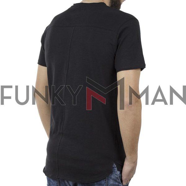 Μακριά Κοντομάνικη Μπλούζα Crew Neck T-Shirt DOUBLE TS-81 Μαύρο