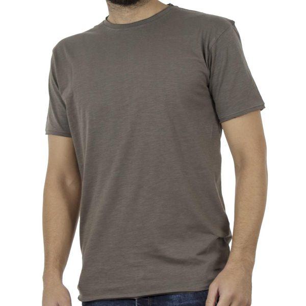 Μακριά Κοντομάνικη Μπλούζα Crew Neck T-Shirt DOUBLE TS-81 Χακί