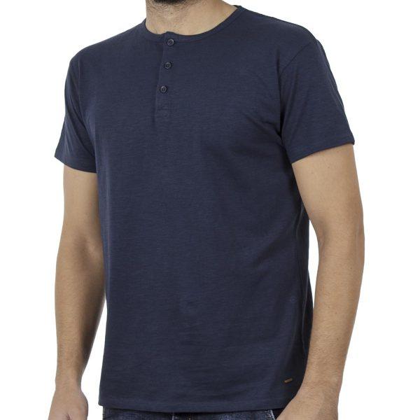 Κοντομάνικη Μπλούζα Henley Neck T-Shirt DOUBLE TS-84 Indigo
