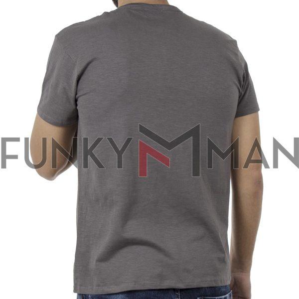 Κοντομάνικη Μπλούζα Henley Neck T-Shirt DOUBLE TS-84 Χακί