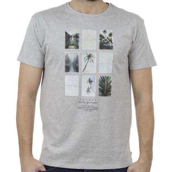 Κοντομάνικο Μπλούζακι Crew Neck T-Shirt DOUBLE TS-92 ανοιχτό Γκρι