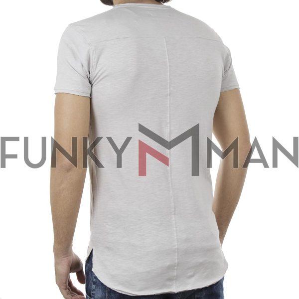 Μακριά Κοντομάνικη Μπλούζα Crew Neck T-Shirt DOUBLE TS-81 Ice