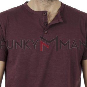 Κοντομάνικη Μπλούζα Henley Neck T-Shirt DOUBLE TS-84 Wine Red