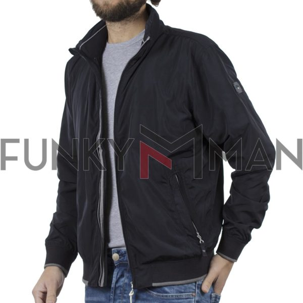 Ελαφρύ Μπουφάν Semi Short Jacket DOUBLE MJK-125 Blueblack