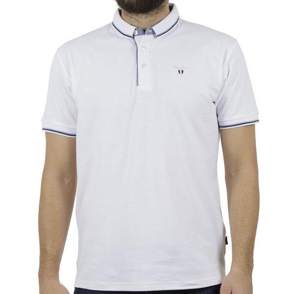 Κοντομάνικο Pique Μπλούζακι Polo DOUBLE GS-35S Λευκό