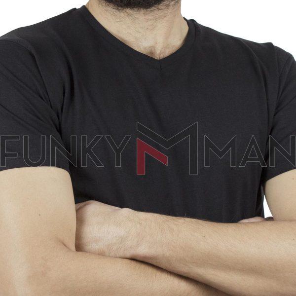"""Κοντομάνικο Μπλούζακι """"V"""" Neck T-Shirt DOUBLE TS-82 Μαύρο"""