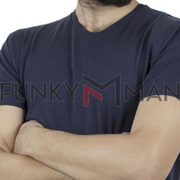 """Κοντομάνικο Μπλούζακι """"V"""" Neck T-Shirt DOUBLE TS-82 Μπλε"""