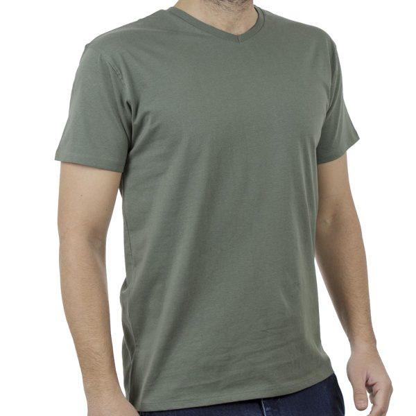 """Κοντομάνικο Μπλούζακι """"V"""" Neck T-Shirt DOUBLE TS-82 Πράσινο"""
