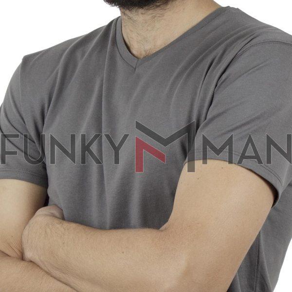 """Κοντομάνικο Μπλούζακι """"V"""" Neck T-Shirt DOUBLE TS-82 Γκρι"""
