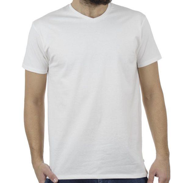 """Κοντομάνικο Μπλούζακι """"V"""" Neck T-Shirt DOUBLE TS-82 Λευκό"""