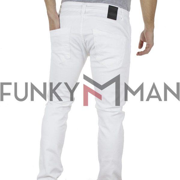 Τζιν Παντελόνι Slim Fit Back2jeans B9X Λευκό