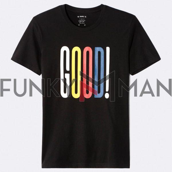 Κοντομάνικο Μπλουζάκι T-Shirt Celio NEGRAPH Μαύρο