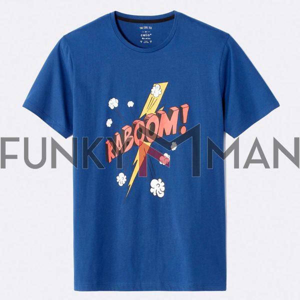 Κοντομάνικο Μπλουζάκι T-Shirt Celio NEKABOOM Μπλε