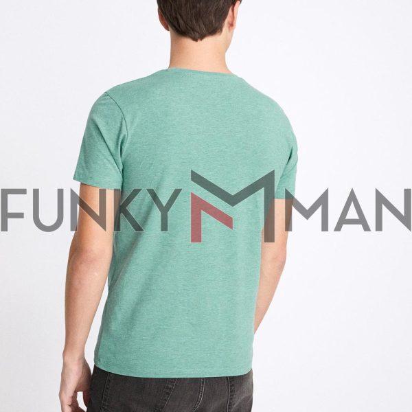 Μονόχρωμο Κοντομάνικο Μπλουζάκι T-Shirt Celio NEUNIR ανοιχτό Πράσινο