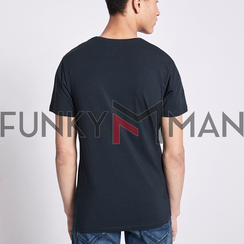 96aeeed51dcf Μονόχρωμο Κοντομάνικο Μπλουζάκι T-Shirt Celio NEUNIR Navy