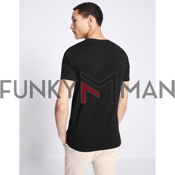 Μονόχρωμο Κοντομάνικο Μπλουζάκι T-Shirt Celio NEUNIR Μαύρο