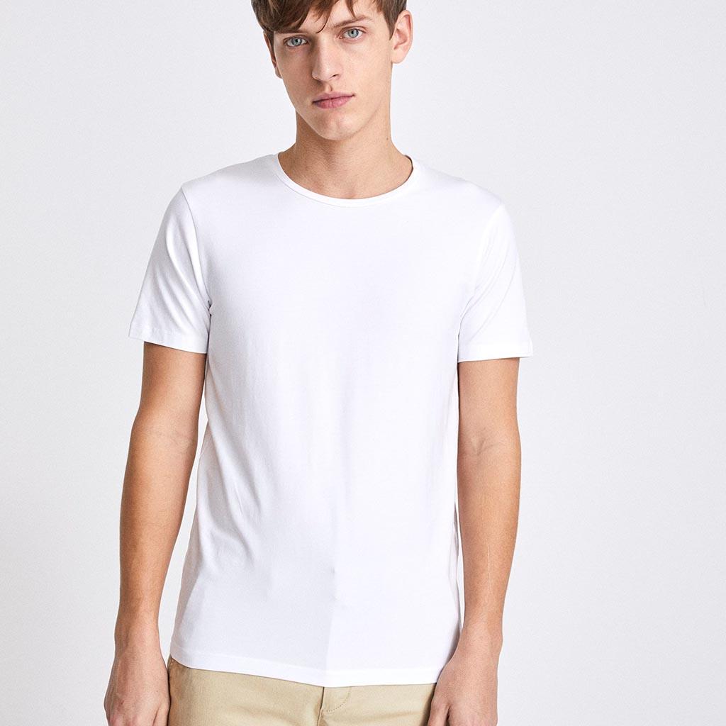 7052229be5e1 Μονόχρωμο Κοντομάνικο Μπλουζάκι T-Shirt Celio NEUNIR Λευκό ...