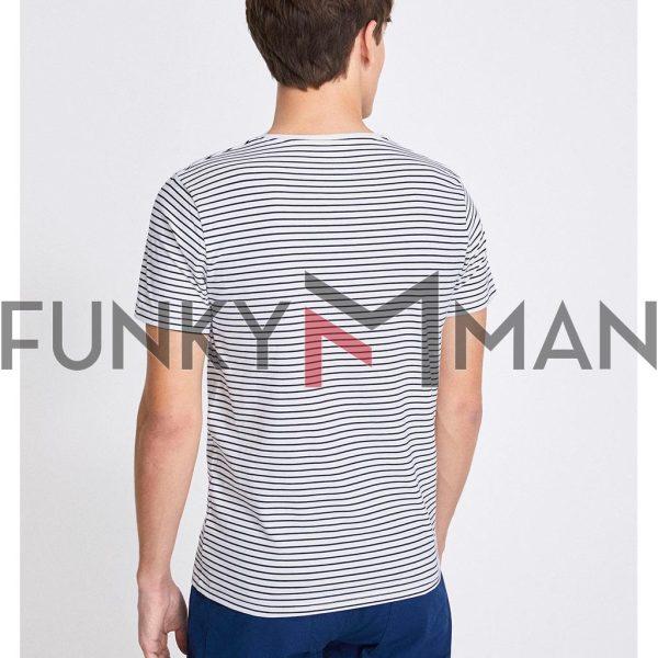 Κοντομάνικο Μπλουζάκι T-Shirt Celio NEUNIRAY Ριγέ Λευκό