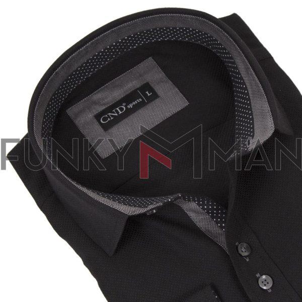 Μακρυμάνικο Πουκάμισο Slim Fit CND Shirts 4600-8 Μαύρο