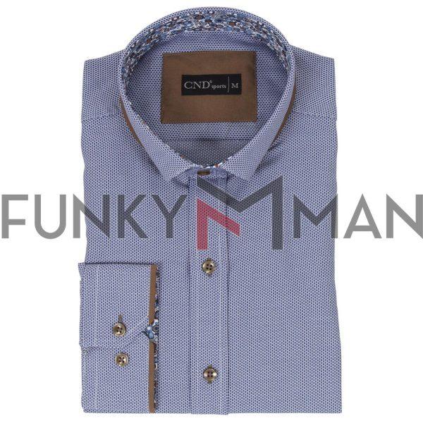 Μακρυμάνικο Πουκάμισο Slim Fit CND Shirts 4650-1 Sky Blue