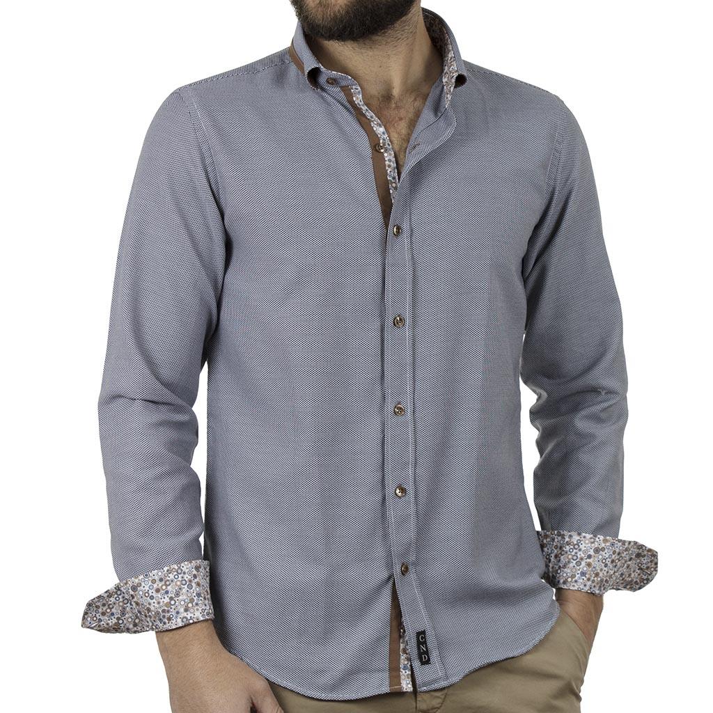 34faa4cc0e1e Μακρυμάνικο Πουκάμισο Slim Fit CND Shirts 4650-2 Γκρι