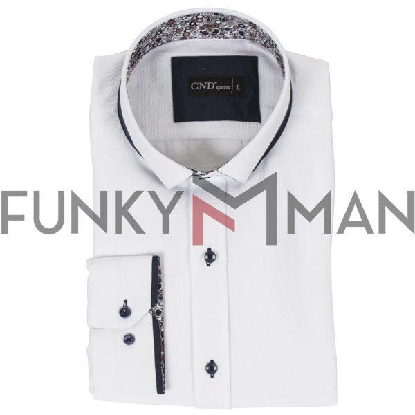 Μακρυμάνικο Πουκάμισο Slim Fit CND Shirts 4650-4 Λευκό