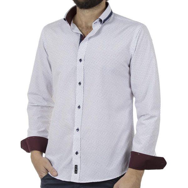 Μακρυμάνικο Πουκάμισο Slim Fit CND Shirts 4650-8 Λευκό