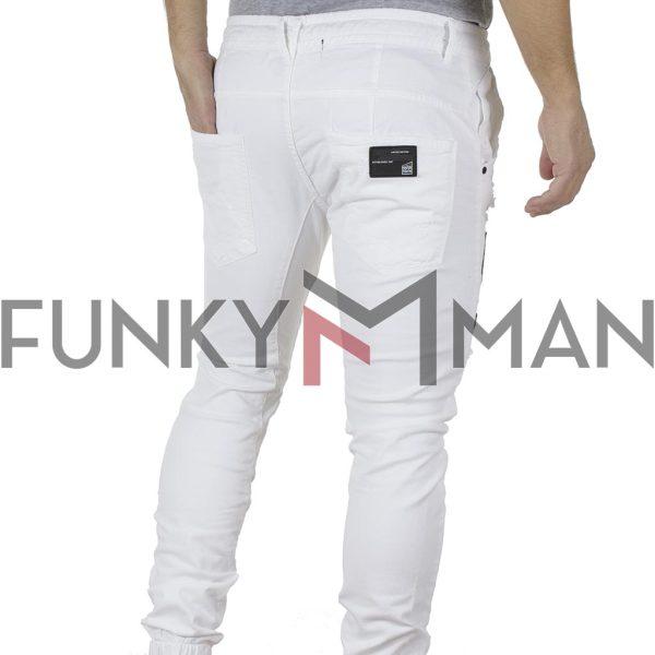 Τζιν Chinos Παντελόνι με Λάστιχα Loose COVER TODD I-3072 Λευκό