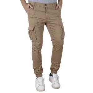 Παντελόνι Cargo με Λάστιχα Slim Fit Rib on Leg DOUBLE CCP-10 Camel