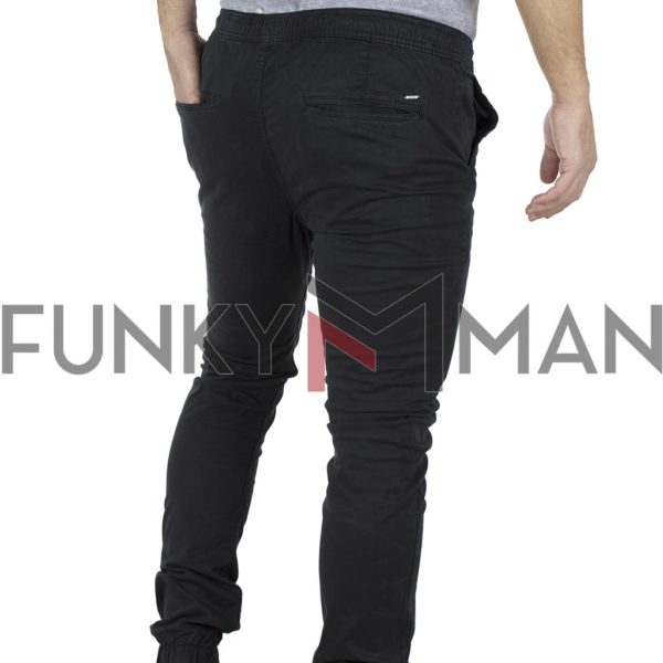 Chinos Παντελόνι με Λάστιχα Slim Fit Ribstop DOUBLE CCP-11 Μαύρο