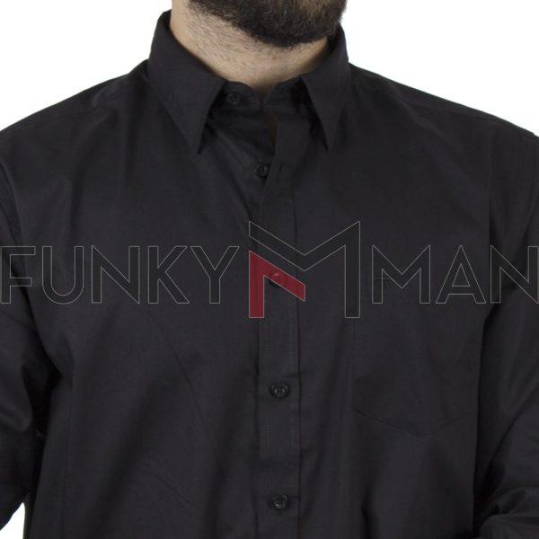 Μακρυμάνικο Πουκάμισο Comfort Fit DOUBLE DOUBLE GS-10 Μαύρο
