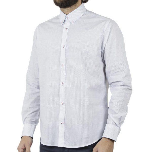 Μακρυμάνικο Πουκάμισο Comfort Fit DOUBLE DOUBLE GS-480 Λευκό