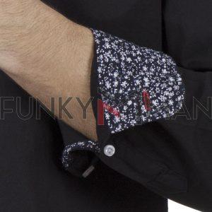 Μακρυμάνικο Πουκάμισο Comfort Fit DOUBLE DOUBLE GS-482 Μαύρο