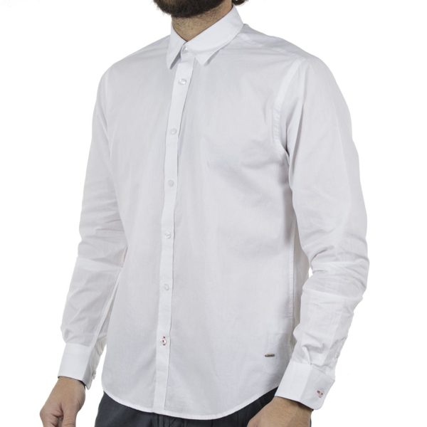 Μακρυμάνικο Πουκάμισο Comfort Fit DOUBLE DOUBLE GS-482 Λευκό