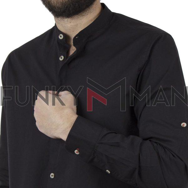 Μακρυμάνικο Πουκάμισο Comfort Fit DOUBLE DOUBLE GS-483 Μαύρο