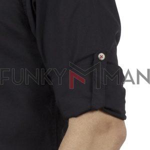 Μάο Μακρυμάνικο Πουκάμισο Comfort Fit DOUBLE DOUBLE GS-483 Μαύρο