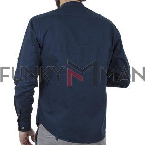 Μακρυμάνικο Πουκάμισο Comfort Fit DOUBLE DOUBLE GS-483 Μπλε