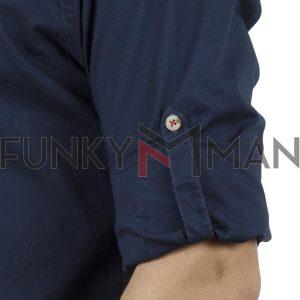 Μάο Μακρυμάνικο Πουκάμισο Comfort Fit DOUBLE DOUBLE GS-483 Μπλε