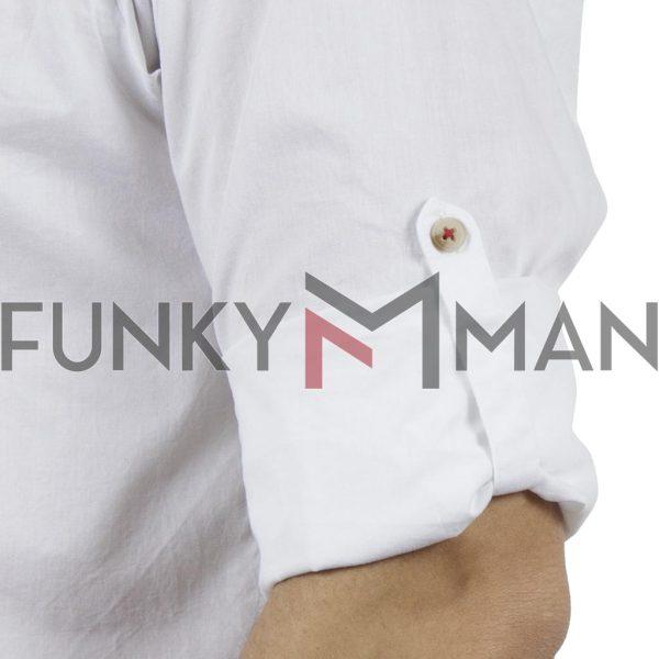 Μάο Μακρυμάνικο Πουκάμισο Comfort Fit DOUBLE DOUBLE GS-483 Λευκό