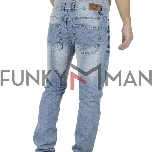 Τζιν Παντελόνι Slim Fit DOUBLE MJP-28 ανοιχτό Μπλε