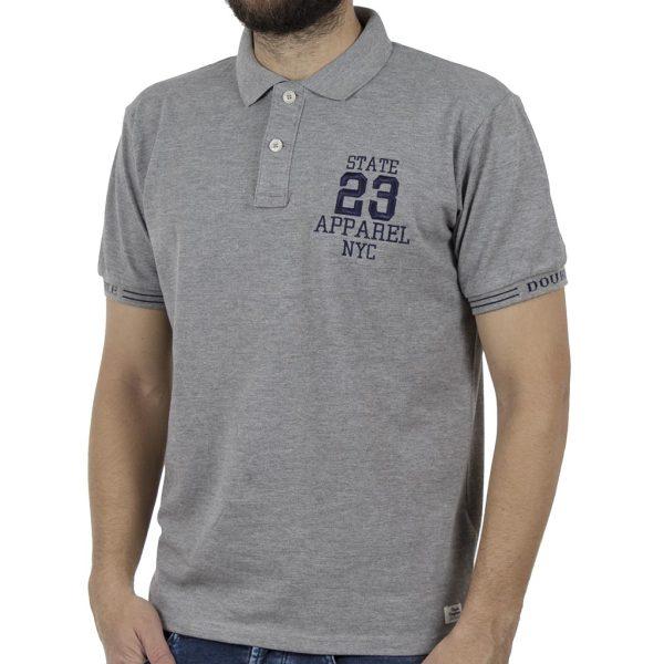 Κοντομάνικο Pique Μπλουζάκι Polo DOUBLE PS-221 Γκρι