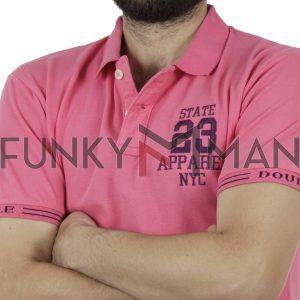 Κοντομάνικο Pique Μπλουζάκι Polo DOUBLE PS-221 Ροζ