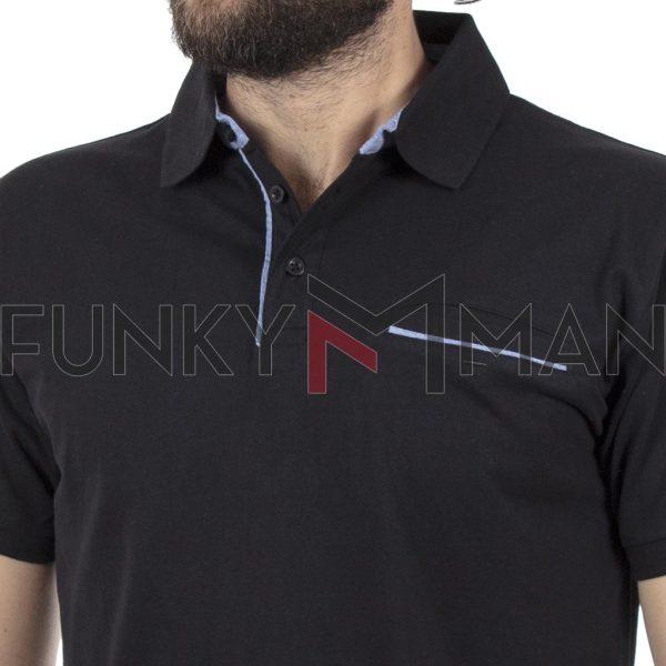Κοντομάνικο Μπλουζάκι Polo Jersey DOUBLE PS-224S Μαύρο