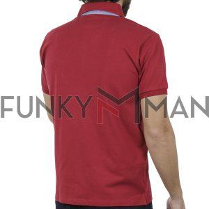 Κοντομάνικο Μπλουζάκι Polo Jersey DOUBLE PS-224S Κόκκινο
